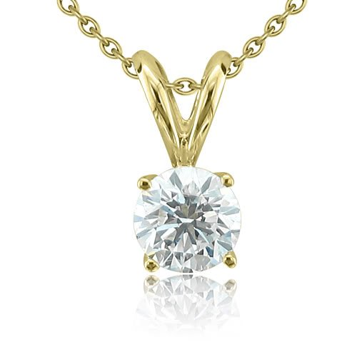 14k Yellow Gold 4-Prong Solitaire Natural Diamond Necklace (G, SI1, 0.75 ct)-Certificate of Authenticity