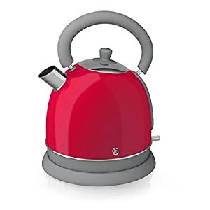 Swan Kitchen Appliance Retro Set - RED Microwave, 1.8L Dome Kettle, 4 Slice Toaster, Retro Breadbin and 3 Canisters Set from Swan