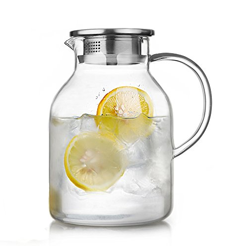 68 Ounces Glass Pitcher with Lid, Water Jug for Hot/Cold Water, Ice Tea and Juice Beverage (Tea Pitcher With Lid compare prices)