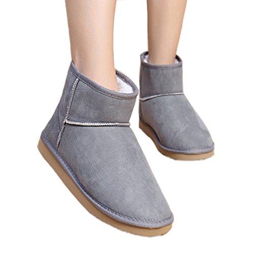 Minetom Donna Classic Mini Neve Stivali Autunno Inverno Calzature Female Moda Flats Shoes ( Grigio EU 39 )