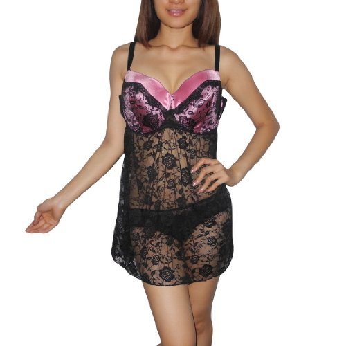 Womens Lingerie: Sexy Padded Underwired Bra Sheer Mesh Babydoll Chemise Intimate Apparel -Size: 2X/22-24