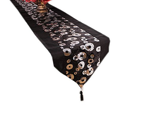 Sequin Circle Table Runner Black Satin Trimming Long Table Cover 78.7 Inches