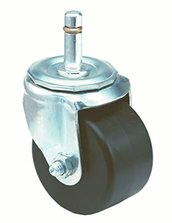 "E.R. Wagner Stem Caster, Swivel, Friction Ring Stem, Polyolefin Wheel, Roller Bearing, 350 lbs Capacity, 3"" Wheel Dia, 1-3/4"" Wheel Width, 3-7/8"" Mount Height, 7/16"" Stem Dia, 1-3/8"" Stem Height"