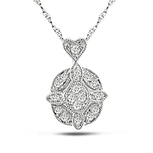 14k White Gold, White Diamond Pendant with Chain, (.1 cttw, GH Color, I2-I3 Clarity), 17""