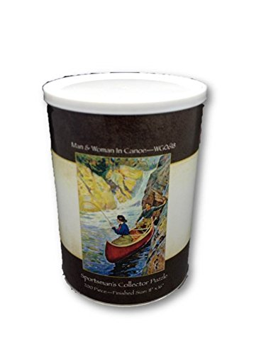 Man & Woman in Canoe Sportsman's Collector Jigsaw Puzzle 200 Piece Puzzle in a Can