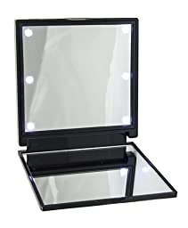 Chase Cosmetics Portable Cosmetic Handheld LED Vanity Makeup Mirror (Black)