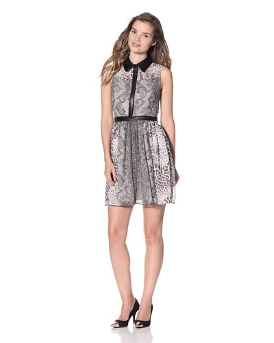 A.B.S. by Allen Schwartz Women's Multi-Print Dress with Leather Trim