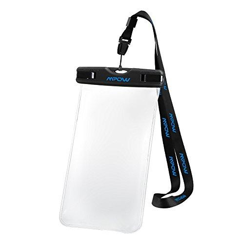 [IPX8 Impermeable Certificado] Mpow Funda Sumergible Universal para Moviles iPhone 6/6s/6 Plus Samsung S6 S5 Hhuawei P8 con Ventanas Transparentes Sensibles y Sistema de Sellado Hermético