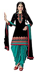 Justkartit Women's Unstitched Black & Green Colour Patiala Salwar Suit / Work Wear Patiyala Salwar Suit / Party Wear Mesmerising Latest Design Patiala Suit (Sept - Oct 2016 Launch)