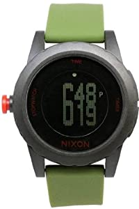 Unisex Watch Nixon A326-048 Genie Plastic Resin Case Digital Quartz Green Rubbe