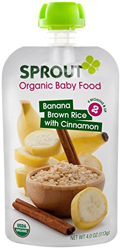 Sprout Organic Foods Stage 2 Pouches, Banana Brown Rice with Cinnamon, 4 Ounce (Pack of 5)