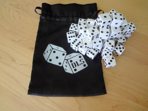 Check Out This 50 White 16 mm Opaque Dice w/ Dice Bag