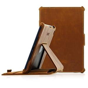 Manna Ultraslim iPad Mini 3 , Mini 2 Retina , Mini Schutzhülle Hülle Case Tasche | Kunstleder, braun | Easystand - einfach aufstellbar |Autosleep-Funktion |CleverStrap Kopfstützenbefestigung