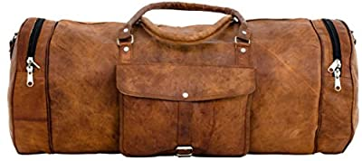 Gusti Leather Genuine Holiday Weekend Trip Overnight Carry-On Luggage Sport Gym Holdall Duffle Travel Bag Vintage Unisex Brown R33b by Gusti Leder