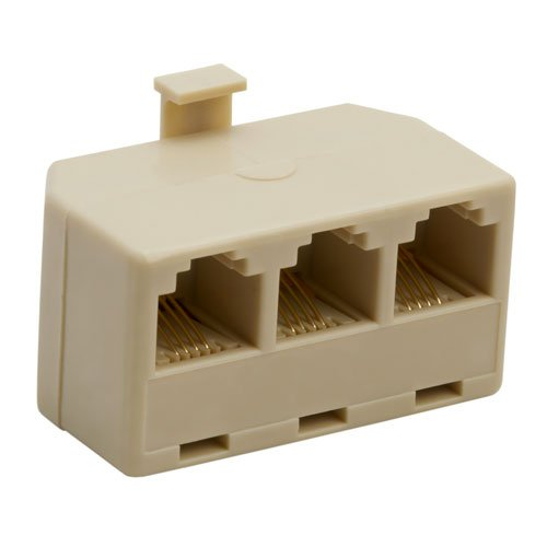 New Vtech Triplex Adapter IVORY Plugs Into Any 2 Line Phone Jack Gold Contacts Plus Outlet