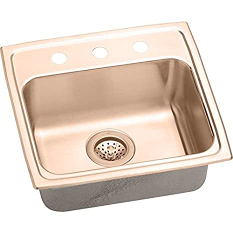 Elkao|#Elkay LRAD191850MR2-CU 18 Gauge Cuverro Antimicrobial copper 19 Inch x 18 Inch x 5 Inch single Bowl Top Mount Sink,