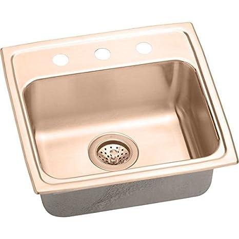 Elkao|#Elkay LRAD191850MR2-CU 18 Gauge Cuverro Antimicrobial copper 19 Inch x 18 Inch x 5 Inch single Bowl Top Mount Sink,