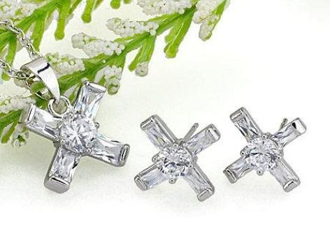 Clear Crystal Cross Pendant White Gold Plated with Chain and Matching Stud Earrings Set