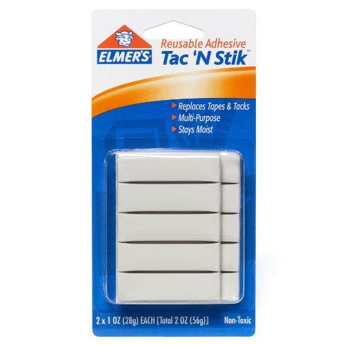 Elmer's Tac 'N Stik Reusable Adhesive, White, 2 Ounces (98620)