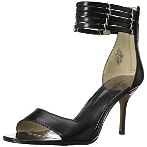 Nine West Women's Ghadess Dress Sandal,Black Leather,7 M US