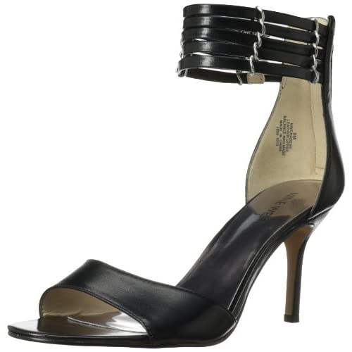 Nine West Women's Ghadess Dress Sandal,Black Leather,7.5 M US