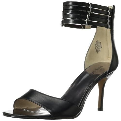 Nine West Women's Ghadess Dress Sandal,Black Leather,7.5 M US