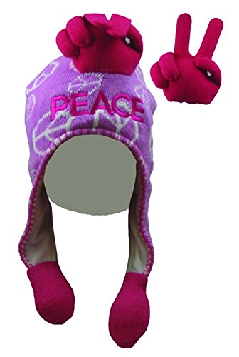 Pink Hat Finger Talk Novelty Peace Sign Squeeze Action on Tassels Kids Adult