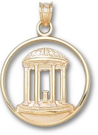 North Carolina Tar Heels Old Well Pendant - 14KT Gold Jewelry by Logo Art