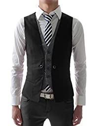 (VE34) TheLees Mens premium layered style slim vest waist coat Black US XS(Tag size M)