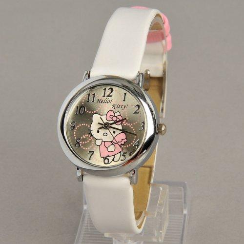 Hello Kitty Round Face Quartz Wristwatch Watch Faux Leather Band White