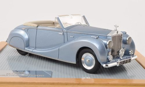 Rolls Royce silver Wraith Drop Head Coupe Franay, metallic-light blue, 1948, Model Car, Ready-made, Ilario 1:43