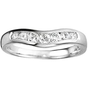 0.44 crt Cubic Zirconia Mounted In Sterling Silver. Traditional Style Contour Wedding Band.