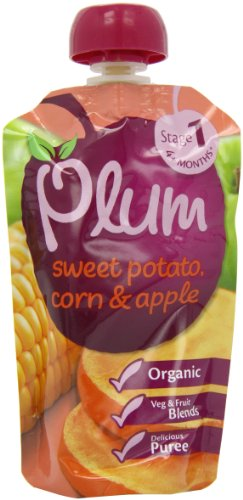 Plum Baby Organic 4 Plus Months Sweet Potato/ Corn and Apple (Pack of 8)