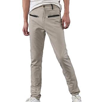 Men Belt Loop 4-pocket Zip Fly Trousers Casual Pants Khaki W31