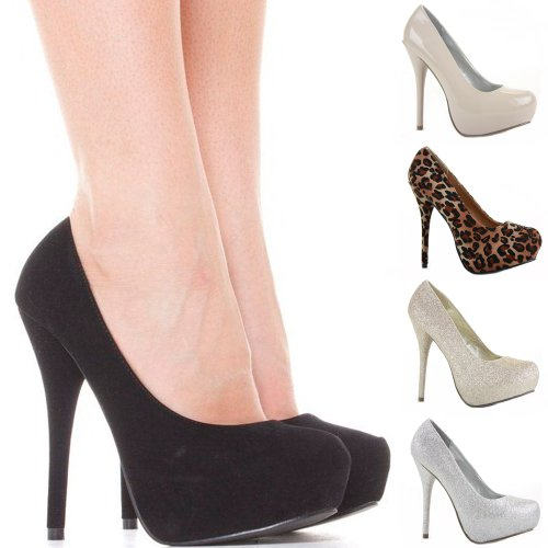 Womens Platform Ladies High Heels Black Suede