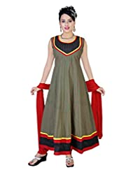 Divinee Red Green Cotton Readymade Anarkali Suit