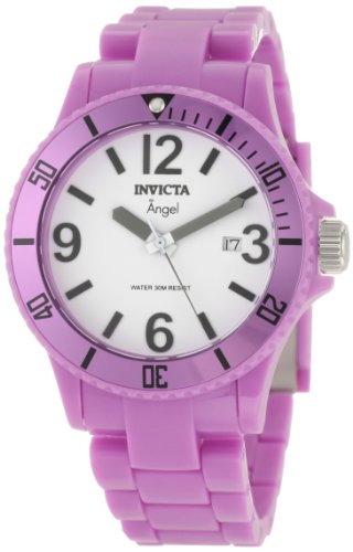 Invicta Ladies Diver Resin Angel Monotone Purple Analogue Watch 1212 with High-Impact Polymer Case Stainless Steel Case and High-Impact Polymer Band