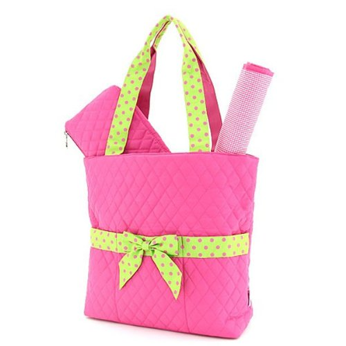Belvah Quilted 3pc Set Large Diaper Bag (Fuchsia/ Lime)
