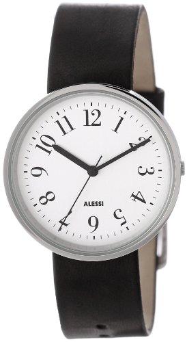 Alessi AL6000 - Reloj analógico automático unisex con correa de piel, color negro