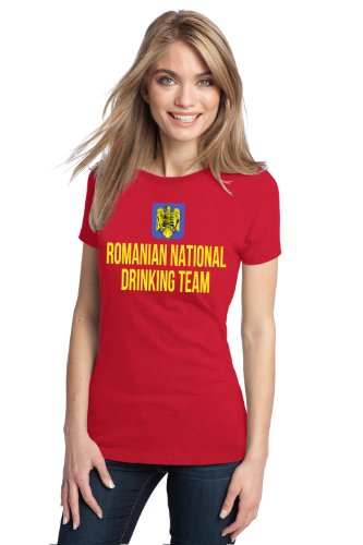 ROMANIAN NATIONAL DRINKING TEAM Ladies' T-shirt / Funny Romania Beer Tee-Red-XX-Large (Romanian Beer compare prices)