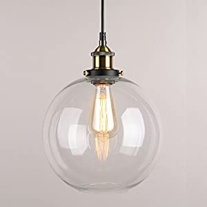 WinSoon 10 X 11 Inch Rround Vintage Industrial Ceiling Lamp Clear Glass pendant lighting for kitchen island Loft Shade Fixture