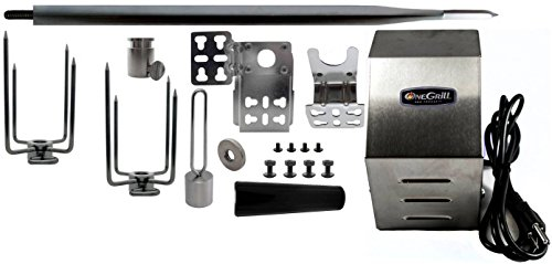 "OneGrill Heavy Duty Stainless Steel Universal Grill Rotisserie Kit (Stainless Steel, 60"" X 5/8"" Hexagon Spit Rod)"