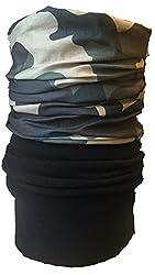Multifunction Half Fleece Neckwarmer, Snood, Hat, Scarf and Hood with Bold Camoflage print by Monogram