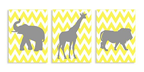 The Kids Room by Stupell Elephant, Giraffe, Lion Sillouhettes in Grey on Yellow Chevron 3-Pc. Rectangle Wall Plaque Set
