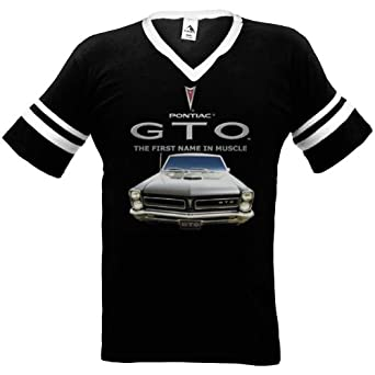 Pontiac GTO Mens Ringer T-shirt, Officially Licensed First Name In Muscle Design Mens V-neck Shirt, Small, Red/White