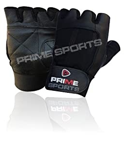 Prime Leather Weight Lifting Padded Leather Gloves - Fitness Training Body Building Gym Sports & Wheel Chair Use Size (medium) from Prime Leather