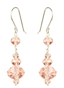 Faceted Pink Ice Glass Bead Earrings with Sterling Silver Earwire (12mm )