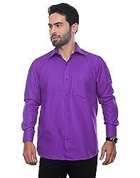 VinaraTrends Purple Color Poly Cotton Shirt For Men (42)