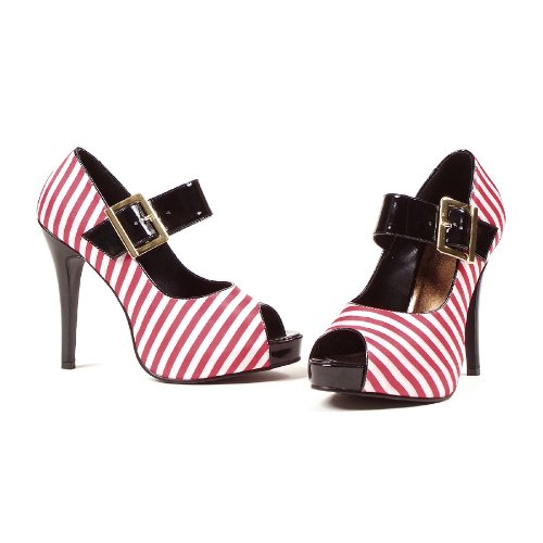4.5 Inch Sexy High Heel Mary Jane Shoes Peep Toe Shoes Red White Strip
