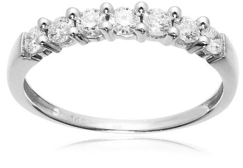 14k White Gold 7-Stone Shared-Prong Diamond Ring (1/2 cttw, I-J Color, I1-I2 Clarity), Size 7